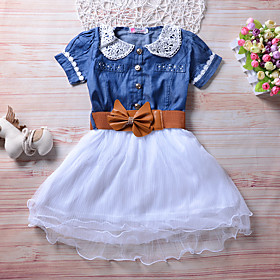 Kids Girls' Active Cute Blue Solid Colored Short Sleeve Knee-length Dress Blue