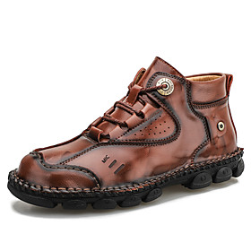 Men's Boots Casual Daily Outdoor Walking Shoes Leather Wear Proof Booties / Ankle Boots Light Yellow / Light Brown / Dark Brown Fall / Winter