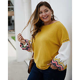 Women's Geometric Color Block Pullover Long Sleeve Plus Size Loose Sweater Cardigans Round Neck Boat Neck Fall Winter Black Yellow