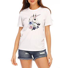 Women's T shirt Graphic Prints Round Neck Tops 100% Cotton White