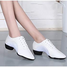 Women's Latin Shoes Heel Cuban Heel Mesh White / Black / Red / Performance / Leather
