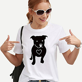 Women's T-shirt Dog Heart Print Round Neck Tops 100% Cotton Basic Basic Top White Black Yellow