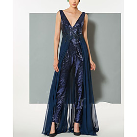 Jumpsuits Elegant Beautiful Back Wedding Guest Formal Evening Dress V Neck Sleeveless Floor Length Sequined with Sequin 2020
