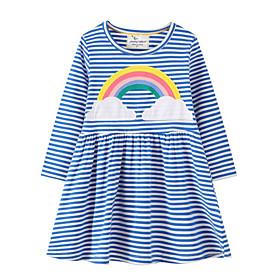 Toddler Girls' Striped Long Sleeve Dress Blue