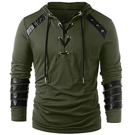 Men's Hoodie Solid Colored Hooded Basic Hoodies Sweatshirts  Black Army Green Gray