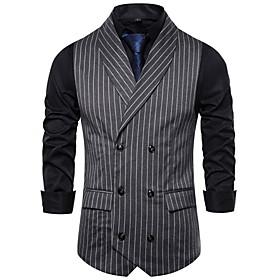 Men's V Neck Vest Striped White / Black / Dark Gray US32 / UK32 / EU40 / US34 / UK34 / EU42 / US36 / UK36 / EU44