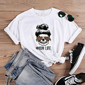 Women's T-shirt Graphic Prints Skull Letter Print Round Neck Tops Slim 100% Cotton Basic Basic Top White Purple Yellow