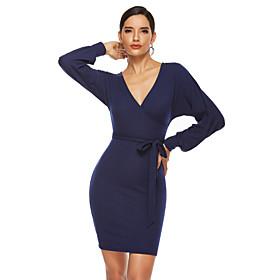 Women's A-Line Dress Short Mini Dress - Long Sleeve Solid Color Summer Fall V Neck Work Elegant Slim 2020 Black Green Navy Blue S M L XL