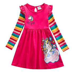 Kids Girls' Sweet Cute Unicorn Striped Cartoon Letter Print Long Sleeve Knee-length Dress Blue
