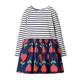 Toddler Girls' Striped Patchwork Long Sleeve Dress Blue