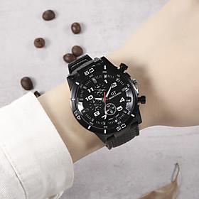 Men's Sport Watch Quartz Sporty Stylish Cool Altimeter Analog White Black Blue / Silicone / Chronograph / Large Dial
