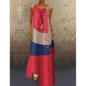 Women's A-Line Dress Maxi long Dress - Sleeveless Color Block Patchwork Summer Plus Size Casual Hot Holiday 2020 White Red Khaki Dusty Blue S M L XL XXL 3XL 4X
