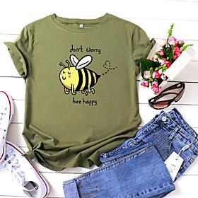Women's T-shirt Animal Letter Print Round Neck Tops 100% Cotton Basic Basic Top White Yellow Blushing Pink
