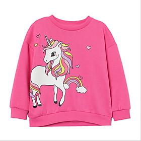Kids Girls' Basic Animal Long Sleeve Hoodie  Sweatshirt Fuchsia