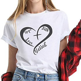 Women's Faith T-shirt Heart Graphic Prints Print Round Neck Tops 100% Cotton Basic Basic Top White Black Yellow