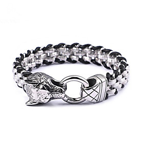 Men's Chain Bracelet Braided Wolf Head Stylish Punk Titanium Steel Bracelet Jewelry Silver For Gift Date Festival