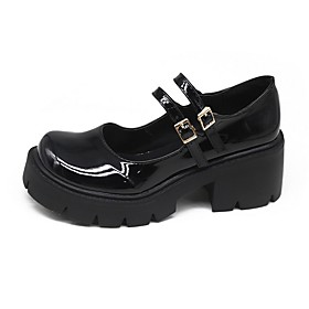 Women's Oxfords Summer Flat Heel Round Toe Daily Solid Colored PU Black / Silver / Black