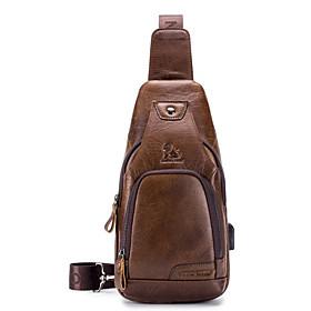 Men's Bags Nappa Leather Sling Shoulder Bag Zipper for Holiday / Outdoor Dark Brown / Black / Brown