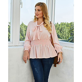 Women's Plus Size Blouse Shirt Solid Colored Long Sleeve Lace up V Neck Tops Lantern Sleeve Loose Basic Basic Top Red Blushing Pink