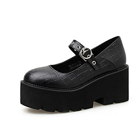 Women's Oxfords / Lolita Shoes Summer Flat Heel Round Toe Daily Solid Colored PU Black