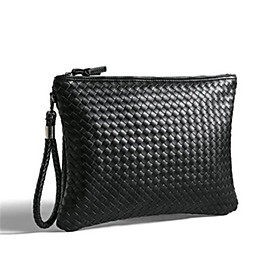 Men's Bags PU Leather Clutch / Wristlet Zipper Solid Color for Party / Daily / Office  Career Black / Wedding Bags / Wedding Bags