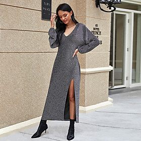 Women's Sheath Dress Maxi long Dress - Long Sleeve Solid Color Split Fall V Neck Work Vintage 2020 Black Gray S M L XL