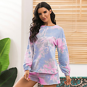 Women's Two Piece Set Basic Set Tops Pant Set Tie Dye / Loose