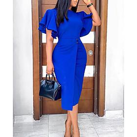 blue Women's Shift Knee Length Dress