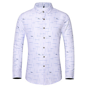 Men's Daily Plus Size Shirt Graphic Print Long Sleeve Tops Basic Button Down Collar White Blue Navy Blue