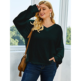 Women's Solid Colored Pullover Long Sleeve Plus Size Loose Sweater Cardigans V Neck Fall Winter White Green