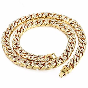 Men's Gold Crystal Long Necklace Dollars Punk Alloy Gold 45 cm Necklace Jewelry For Street