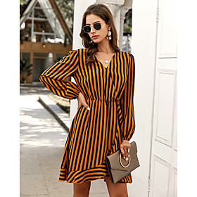 Women's A-Line Dress Knee Length Dress - Long Sleeve Striped Print Fall V Neck Casual 2020 Yellow S M L XL