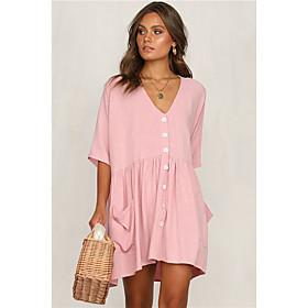 Women's A-Line Dress Short Mini Dress - Half Sleeve Solid Color Spring Summer V Neck Casual 2020 Black Blue Blushing Pink Khaki S M L XL