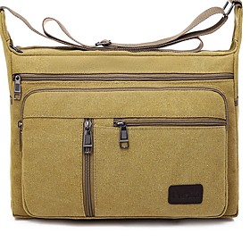 Men's Bags Canvas Crossbody Bag for Daily / Outdoor Black / Army Green / Khaki / Brown