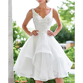 A-Line Wedding Dresses V Neck Knee Length Lace Organza Sleeveless Vintage 1950s with Appliques Cascading Ruffles 2020