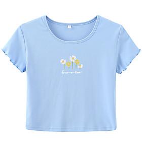 Women's T-shirt Graphic Prints Letter Print Round Neck Tops Slim 100% Cotton Basic Basic Top Black Light Green Light Blue