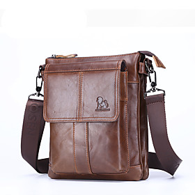 Men's Bags Nappa Leather Briefcase Zipper for Daily / Office  Career Black / Brown / Fall  Winter