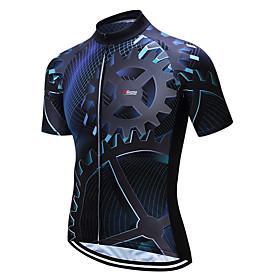21Grams Heren Korte mouw Wielrenshirt Coolmax Blauw en zwart Fietsen Shirt Kleding Bovenlichaam Bergracen Wegwielrennen Vochtregelerend Beperkt bact
