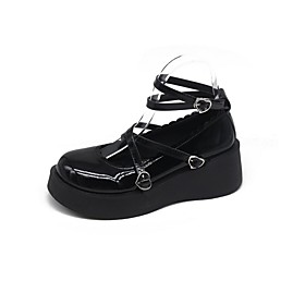 Women's Lolita Shoes Flat Heel Round Toe Daily Solid Colored PU Summer Black / Silver / Black