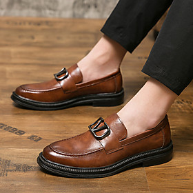 Men's Loafers  Slip-Ons Casual / British Daily Outdoor Walking Shoes Leather / Nappa Leather Breathable Wear Proof Dark Brown / Black Spring / Fall
