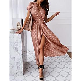 Women's Wrap Dress Maxi long Dress - Short Sleeve Polka Dot Print Summer V Neck Casual Hot Sexy 2020 Black Blue Blushing Pink Dark Green S M L XL XXL 3XL