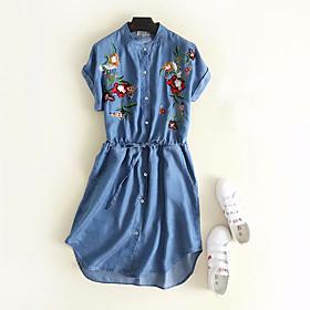 Women's A-Line Dress Knee Length Dress - Short Sleeve Floral Embroidered Print Summer Casual Cotton 2020 Light Blue M L