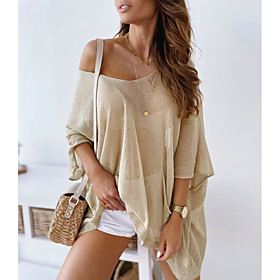 Women's Blouse Shirt Solid Colored V Neck Tops Loose Basic Basic Top White Camel Gray