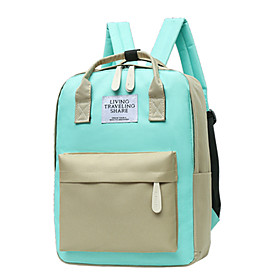 Large Capacity / Waterproof Commuter Backpack Women's Oxford Cloth Zipper Color Block Daily / Outdoor Black / Blushing Pink / Green / Beige / Fall  Winter