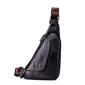 Men's Bags Nappa Leather Sling Shoulder Bag Zipper for Holiday / Outdoor Brown