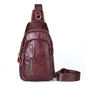 Men's Bags Nappa Leather Sling Shoulder Bag Zipper for Holiday / Outdoor Red Brown / Black / Brown / Fall  Winter