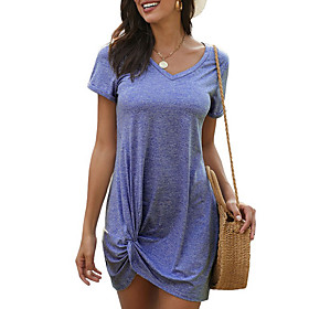 Women's T Shirt Dress Tee Dress Short Mini Dress - Short Sleeve Solid Color Summer V Neck Casual Cap Sleeve Loose 2020 Black Blue Blushing Pink S M L XL