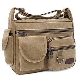 Men's Bags Canvas Crossbody Bag for Daily / Outdoor Black / Khaki / Green / Brown