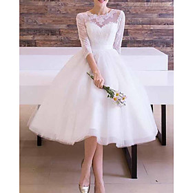 A-Line Wedding Dresses Jewel Neck Ankle Length Lace Tulle Long Sleeve Vintage 1950s with Sashes / Ribbons 2020