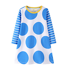Kids Girl's Short-Sleeve Elastic Waist T-Shirt Dress Polka Dot Striped Dress Blue